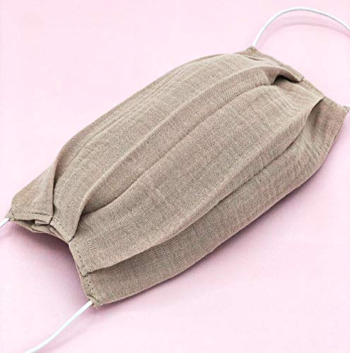 Handmade Face Mask Reusable Washable With Filter Pocket Soft 100% Cotton Gauze Cloth Gray Beige Pattern