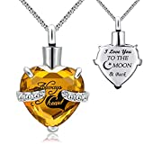 YOUFENG Urn Necklaces for Ashes Always in My Heart Heart Cremation Jewelry Memorial Pendant Birthstone Necklace (November URN)
