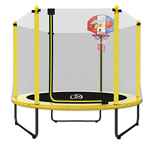 LANGXUN 60' Trampoline for Kids - 5ft Outdoor & Indoor Mini Toddler Trampoline with Enclosure, Basketball Hoop, Birthday Gifts for Kids, Gifts for Boy and Girl, Baby Toddler Trampoline Toys, Age 1-8
