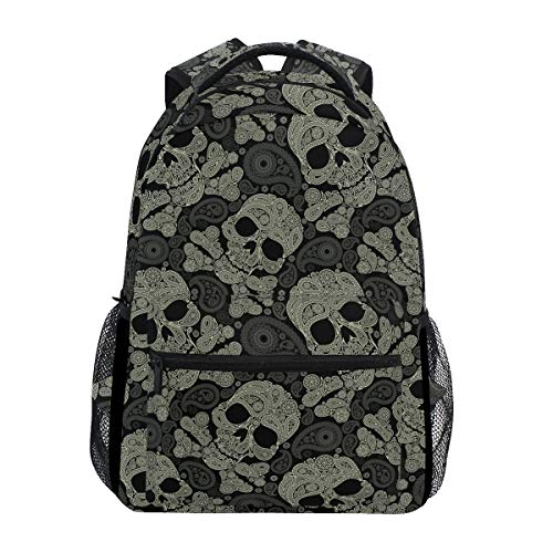 Skull Travel Laptop Backpack for School Girls & Boys Kids Elementary Day of The Dead Skull Skeleton Student Bookbag Daypack Shoulder Bag