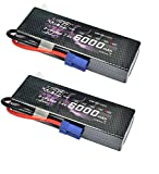 HRB 2s 7.4v 6000mah 60c Lipo Battery HardCase with EC5 Plug for RC Model Traxxas Car Losi Boat Truck Buggy (2Packs)