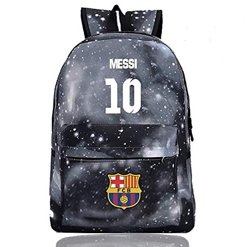 Messi Fans Backpack Barcelona Backpack Outdoor School Travel Galaxy Black Medium