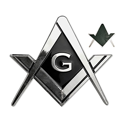 Masonic Car Emblem Square and Compass Metal Decal