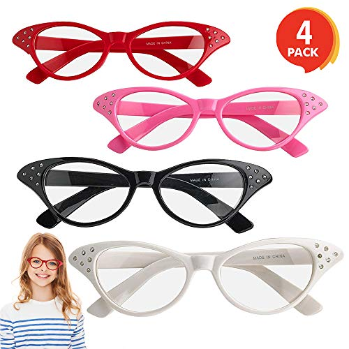 ArtCreativity Retro Cat Eye Glasses with Rhinestones - Pack of 4 - Vintage Cat Eye Fashion Eyeglasses for Women and Kids, Fun Props for 50s, 60s, Grease Theme, and Old Crazy Cat Lady Costume