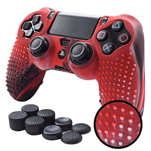 Pandaren Studded Anti-Slip Silicone Cover Skin Set for PS4 /Slim/PRO Controller(CamouRed Controller Skin x 1 + FPS PRO Thumb Grips x 8)