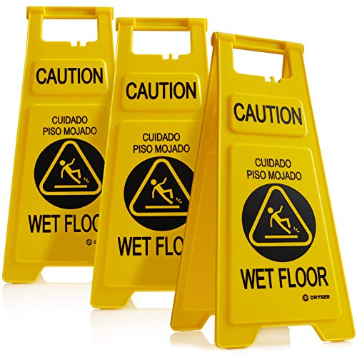Dryser 3-Pack 26' Caution Wet Floor Signs - Yellow 2-Sided English/Spanish Warnings
