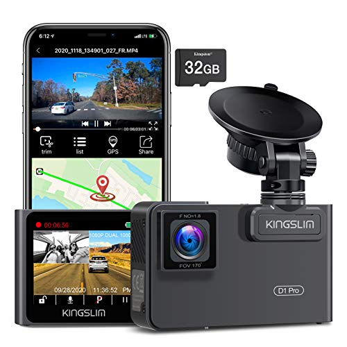 Kingslim D1 Pro 2K Dual Dash Cam with Wi-Fi GPS, 2K/1080P Front and Inside Car Camera Driving Recorder, Dual Sony Sensor with 340° FOV, Super Night Vision, Loop Recording, 24Hr Monitor, Card Included