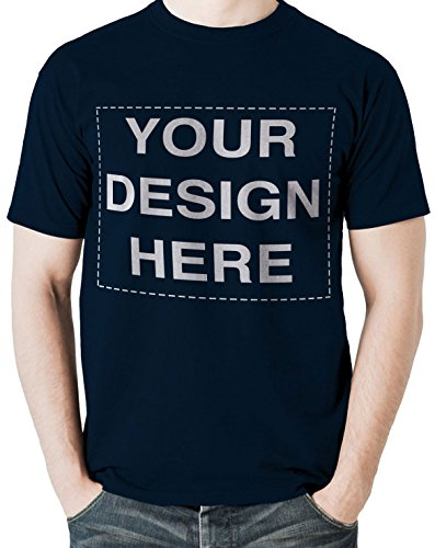 Custom Tshirts Design Your Own Text or Image Adult Unisex T-Shirt (X-Large, Navy)