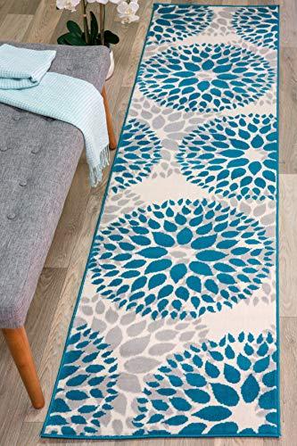 Modern Floral Circles Design Runner Rug 2' X 7' 2' Blue