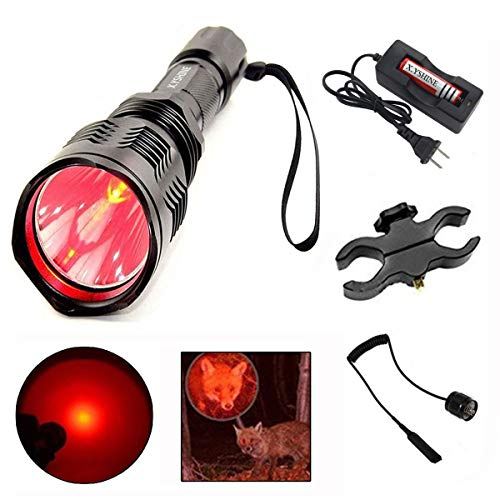 LED Hunting Flashlight, HS-802 250 Yards Cree Coyote Hog Red Light Flashlight with Remote Tactical Pressure Switch+ Barrel Mount+ 18650 Rechargeable Battery+ Charger for Hunting, Fishing