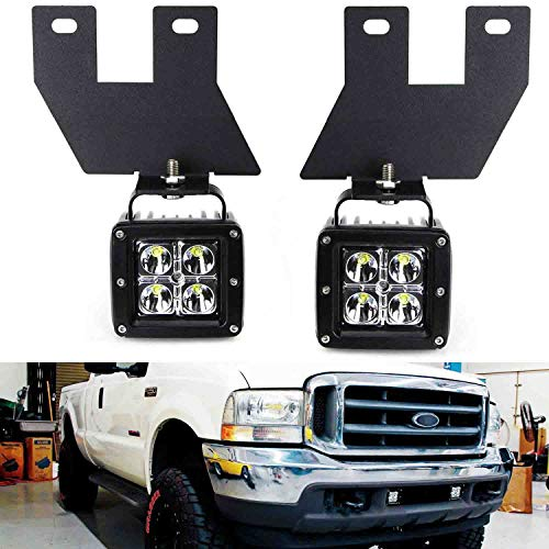 iJDMTOY LED Pod Light Fog Lamp Kit Compatible With 1999-04 Ford F250 F350 F450 Super Duty, Includes (2) 20W CREE LED Cubes, Lower Bumper Fog Location Mounting Brackets & On/Off Switch Wiring Kit