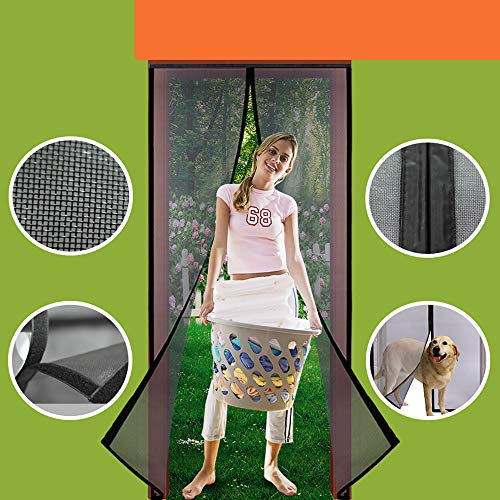 Homearda Magnetic Screen Door Fiberglass-New Upgraded Magnets & Strengthen Top Never Ripped-Durable Fiberglass Mesh Curtain with Weights in Bottom-Full Frame Magic Seal-Fits Door up to 36''x82''