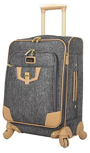 Nicole Miller New York Luggage Collection - Designer Lightweight Softside Expandable Suitcase- 20 Inch Carry On Bag with 4-Rolling Spinner Wheels (Paige Silver)