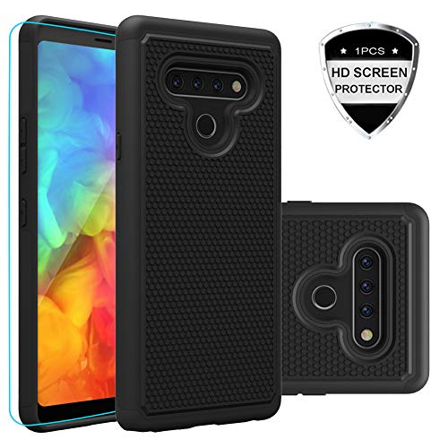 Giner LG Stylo 6 Case, with HD Screen Protector, Dual Layer Heavy-Duty Military-Grade Armor Defender Protective Phone Case Cover for LG Stylo 6 2020 (Black Armor)