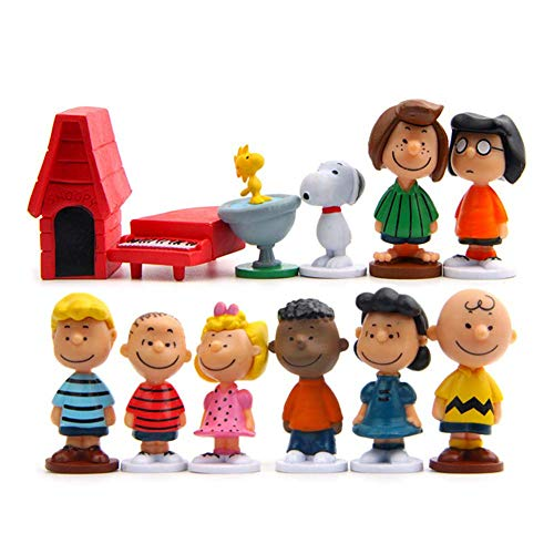 HIMEX BRANDS Peanuts Movie Classic with Snoopy, Woodstock, Dog House, Linus, Charlie and More Cake Toppers Cupcake Figures Decorative Birthday Party - Pack 12pcs
