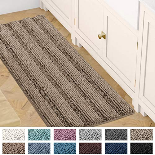 Bath Mats for Bathroom Non Slip Luxury Chenille Striped Bath Rug Runners 47x17 Absorbent Non Skid Fluffy Soft Shaggy Rugs Washable Dry Fast Plush Area Carpet Mats for Bath Room, Tub - Taupe Brown