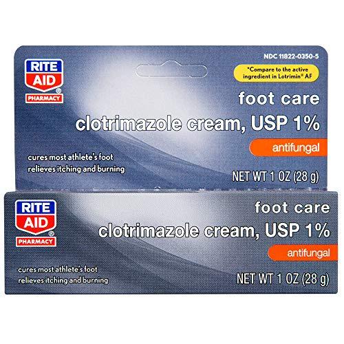 Rite Aid Clotrimazole Anti-fungal Cream, 1% - 1 oz | Treats Athlete's Foot | Jock Itch Cream | Ringworm Cream