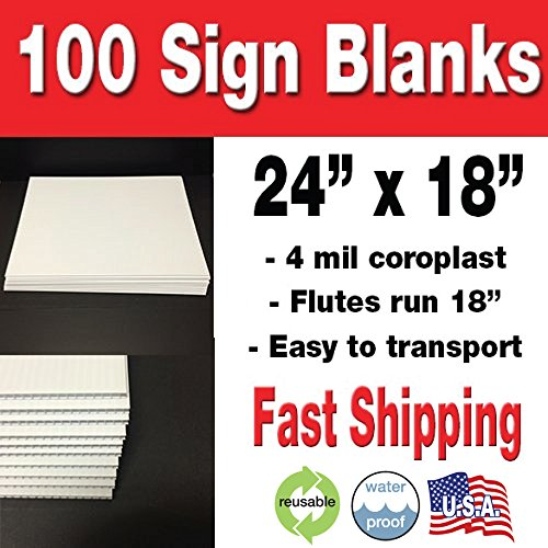 100 Pack 18x24' Corrugated Plastic Sign Blank- White