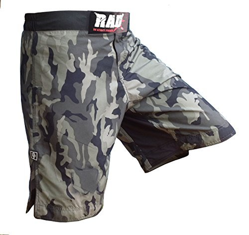 RAD MMA Fight Shorts Grappling Short Kick Boxing Cage Fighting Shorts White and Green Camo (X-Large, Green Camo)