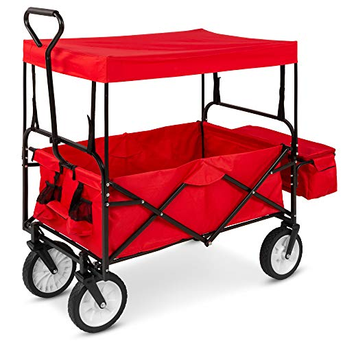 Best Choice Products Utility Cargo Wagon Cart for Beach, Errands w/Folding Design, Removable Canopy, Cup Holders - Red