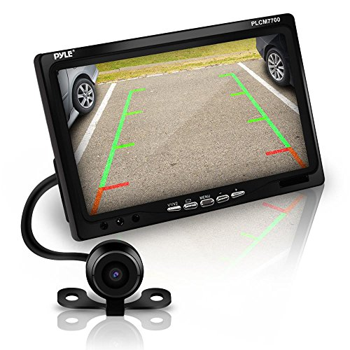 Pyle Backup Rear View Car Camera Screen Monitor System - Parking & Reverse Safety Distance Scale Lines, Waterproof, Night Vision, 170° View Angle, 7' LCD Video Color Display for Vehicles - (PLCM7700)