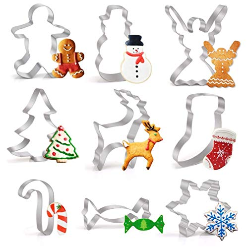 LEEFE Christmas Cookie Cutter Set, 9 Piece Stainless Steel Snowflake, Christmas Tree, Reindeer, Gingerbread Boy, Snowman, Angel, Candy Canes, Socks, Candy for Kids
