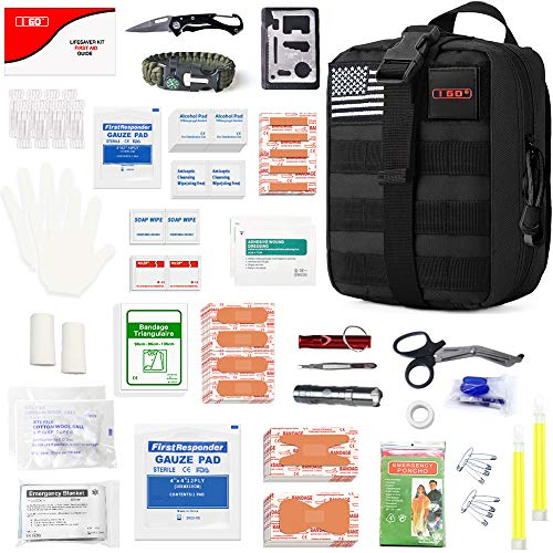 I GO Survival First Aid Kit, 251 Pieces Compact Tactical Trauma First Aid Bag, Molle Compatible Emergency Pouch for Outdoor Camping Hiking Backpacking and Travel, Black