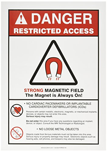 Accuform Signs MRAD140VS Adhesive Vinyl Safety Sign, Legend 'DANGER RESTRICTED ACCESS STRONG MAGNETIC FIELD THE MAGNET IS ALWAYS ON! -NO CARDIAC PACEMAKERS OR IMPLANTABLE CARDIOVERTER DEFIBRILLATORS (ICDs) -NO LOOSE METAL OBJECTS' with Graphic, 14' Length x 10' Width x 0.004' Thickness, Red/Black on White