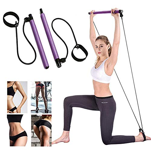 Lintelek Pilates Bar Kit with Resistance Band, Yoga Pilates Stick Muscle Toning Bar with Foot Loop, Portable Home Gym Yoga Pilates Exercise Bar for Daily Total Body Workout (Purple)