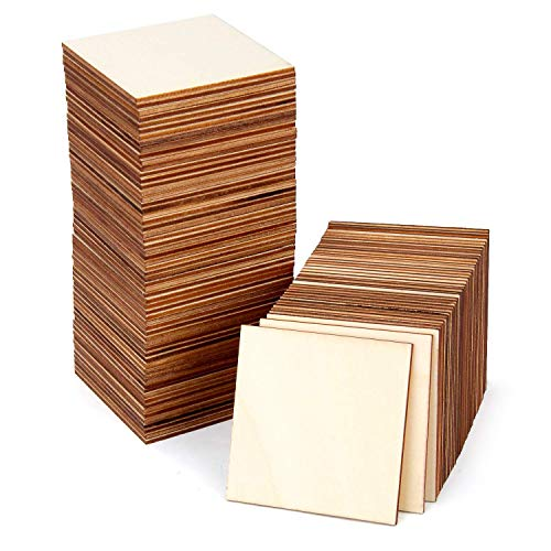 Blisstime 100 PCS 3 Inches Unfinished Wood Squares Pieces Natural Wood Coasters Wooden Square Cutouts for Painting, Writing, diy Supplies, Engraving and Carving, Home Decorations