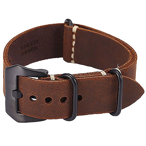 Carty Replacement Watch Band Strap Vintage Handmade Crazy Horse Leather Zulu NATO 22mm Dark Brown