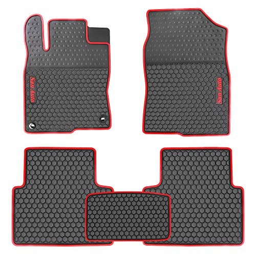 HD-Mart San Auto Car Rubber Floor Mat for Honda Civic 10th Generation 2016 2017 2018 2019 2020, Custom Fit Rubber Black and Red Auto Floor Liners Mat All Weather Protection Heavy Duty Odorless