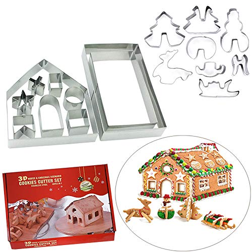 OSOF 18PCS Stainless Steel Christmas House Cookie Cutter Kit, 3D Chocolate House Cookie Cutter Set, Gingerbread House Haunted House Cutters