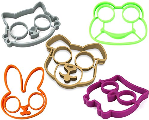 stbeyond Fried Egg Molds set- Non Stick Silicone Fried Egg Molds Pancake Rings - Funny Style with Bunny, Owl, Dog,Frog and Cat (set of 5)