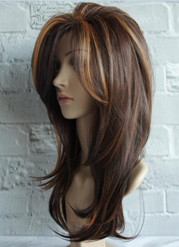Long Layered Shoulder Length Synthetic Hair Fiber Highlight Multicolor Wigs for White Women (Mixcolor 3)
