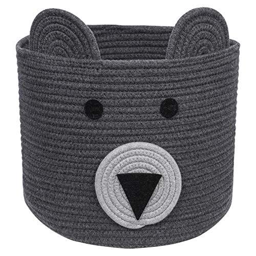 CherryNow Bear Basket, Cotton Rope Basket, Woven Laundry Hamper, Cute Storage Bin in Bedroom, Nursery & Living Room, 10'' (H) x 12'' (D)