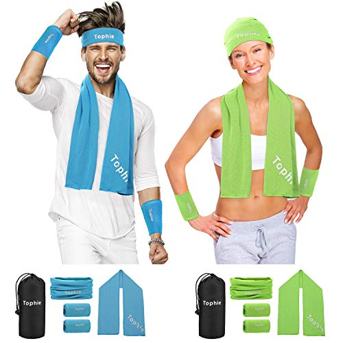 Tophie Cooling Towel Headbands Neck Gaiter Wristbands Set (Blue) for Man and Women, Breathable Chilly Ice Face Scarf for Workout, Gym, Yoga, Pilates, Travel,Fitness,Golf,Camping