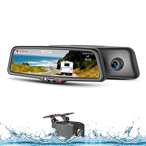 Mirror Dash Cam 9.66' HD Backup Camera, 1080P Front and Rear Night Vision Wide Angle Dash Camera Video Streaming Touch Bar Screen Rear View Mirror Camera for Waterproof Rear Camera, 32G Memory Card