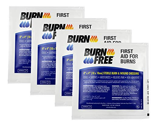 Burn Free Pain Relieving Gel Dressing 4' x 4' Sterile Burn & Wound Dressing 4 Pack/Cools, Soothes, Moisturizes, Relieves Pain, Non-Adherent, 1st, 2nd Degree Burns, Chemical, Razor and Sunburns.