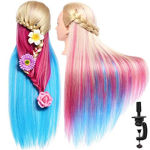 SILKY 28'-30' Long Synthetic Hair Mannequin Head Hairdresser Practice Training Head Cosmetology Manikin Doll Head with 9 Tools and Clamp - Colorful