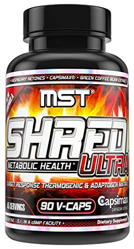 Shred-Ultra with 100 mg Capsimax to Support Weight Management, Appetite Control + Raspberry Ketones + Ashwagandha+ Green Coffee Bean Extract, 90 V-Caps by MST Millennium Sport Technologies