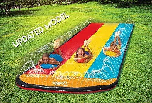 Jambo Triple Lane Slip, Splash and Slide (Newest 2021 Model) for Backyards| Water Slide Waterslide with 3 Boogie Boards | 16, Foot 3 Sliding Racing Lanes with Sprinklers | Durable PVC Construction