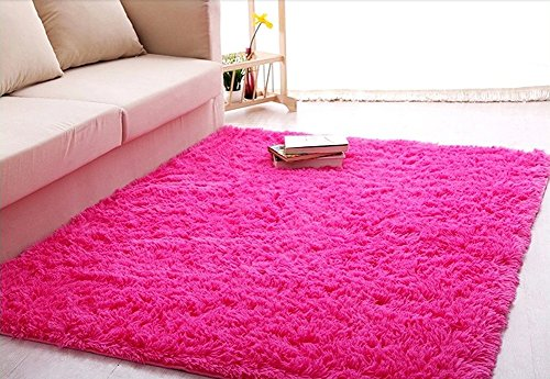 ACTCUT Super Soft Indoor Modern Shag Area Silky Smooth Rugs Fluffy Anti-Skid Shaggy Area Rug Dining Living Room Carpet Comfy Bedroom Floor 5.3' x 7.3',(Hot Pink)