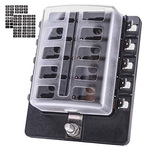 MICTUNING LED Illuminated Automotive Blade Fuse Holder Box 10-Circuit Fuse Block with Cover