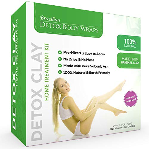 Brazilian Detox Clay Body Wraps (10-Applications) Slimming Home Spa Treatment for Cellulite, Weight Loss, Stretch Marks   Natural, Purifying Detoxifier for Smooth, Toned Skin (10 Applications)