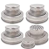 4 Pieces Mason Jar Shaker Lid with Silicone Seals for Regular Mouth Mason, Canning Jars, Durable, Rust Proof Stainless Steel, Shake Dry Rub - Cocktail, Mix Spices, Dredge Flour, Sugar