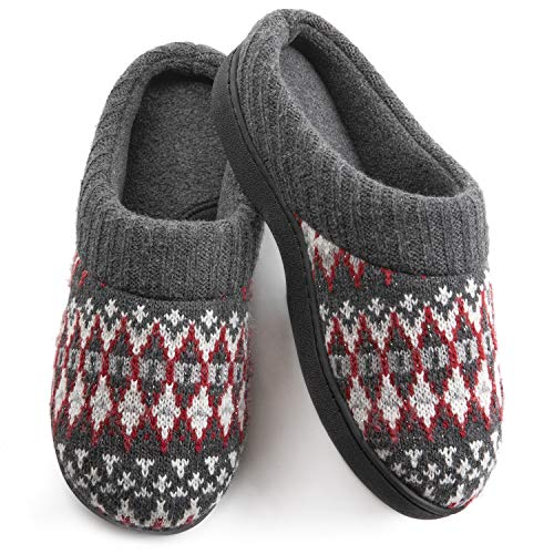 Wishcotton Womens Cozy Breathable Christmas Style Memory Foam Slippers Nonslip Rubber Sole House Shoes,Wine,9-10 M US