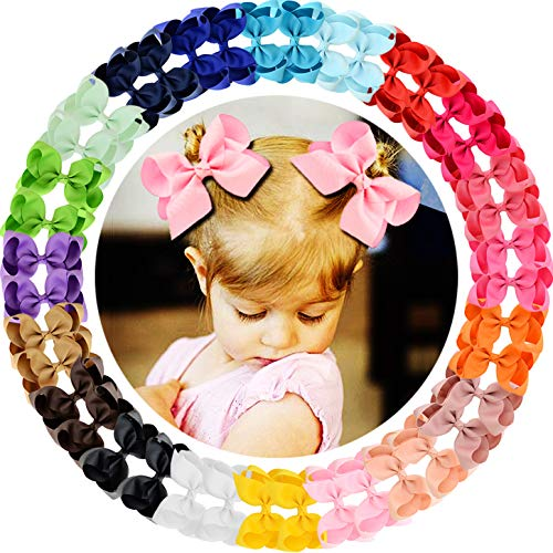 WillingTee 40Pcs Grosgrain Ribbon Hair Bows Alligator Clips for Baby Girls Infants Toddlers Kids Teens Children 20 Colors in Pairs