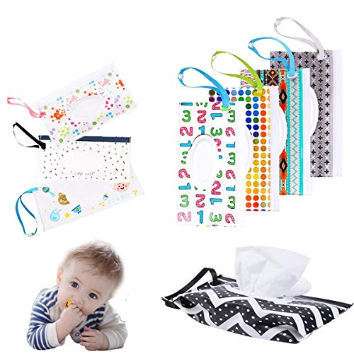 10 Pcs Portable Baby Wipes Pouch, Reusable Wet Wipes Case Baby Wipes Dispenser, Lightweight Handy Travel Diaper Wipes Carrying Case Holder | Keeps Wet Wipes Moist(Random Pattern)