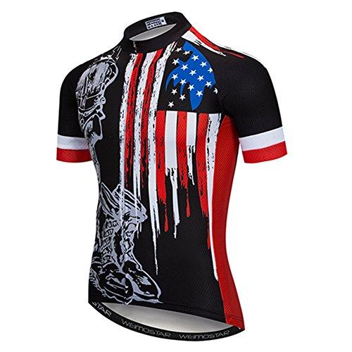 Weimostar Men's USA Cycling Jersey Short Sleeve Biking Shirts Breathable with Pokects Black Size XXXL